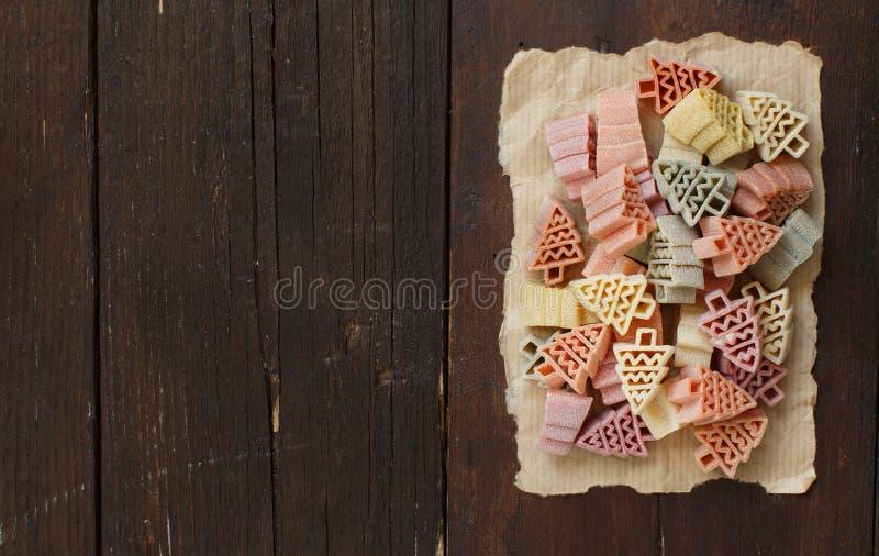Pasta a forma di tricolore dell'albero di abete fotografia stock libera da diritti