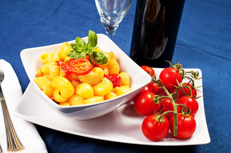 Download Pasta with fresh tomatoes stock photo. Image of healthy - 33156864