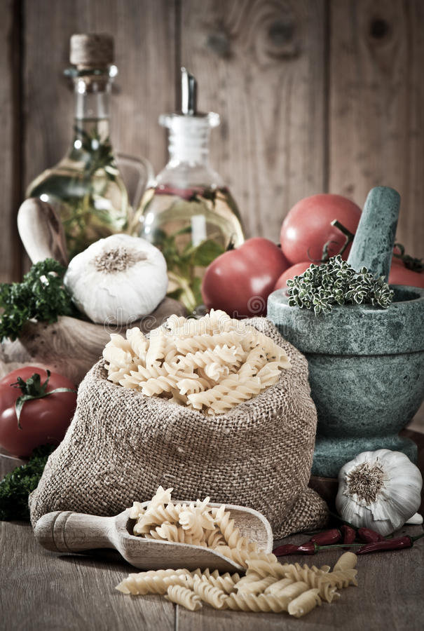 Pasta With Garlic & Herbs stock image