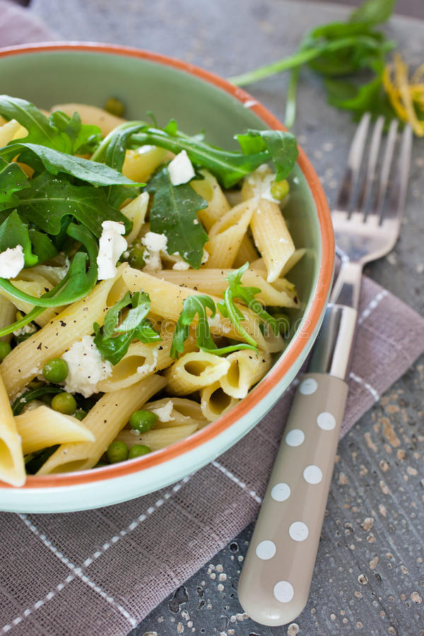 Download Pasta With Goatcheese And Rocket Stock Photo - Image of lunch, salad: 25518528