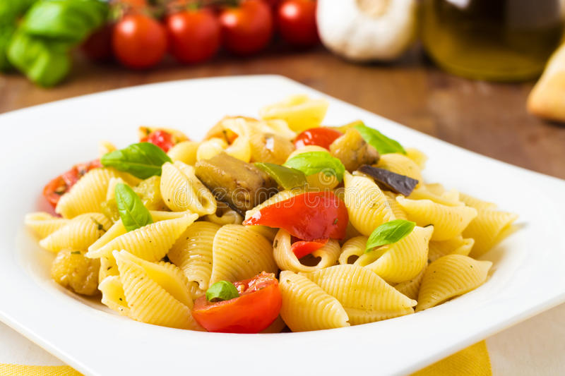 Pasta with grilled veggies royalty free stock photography