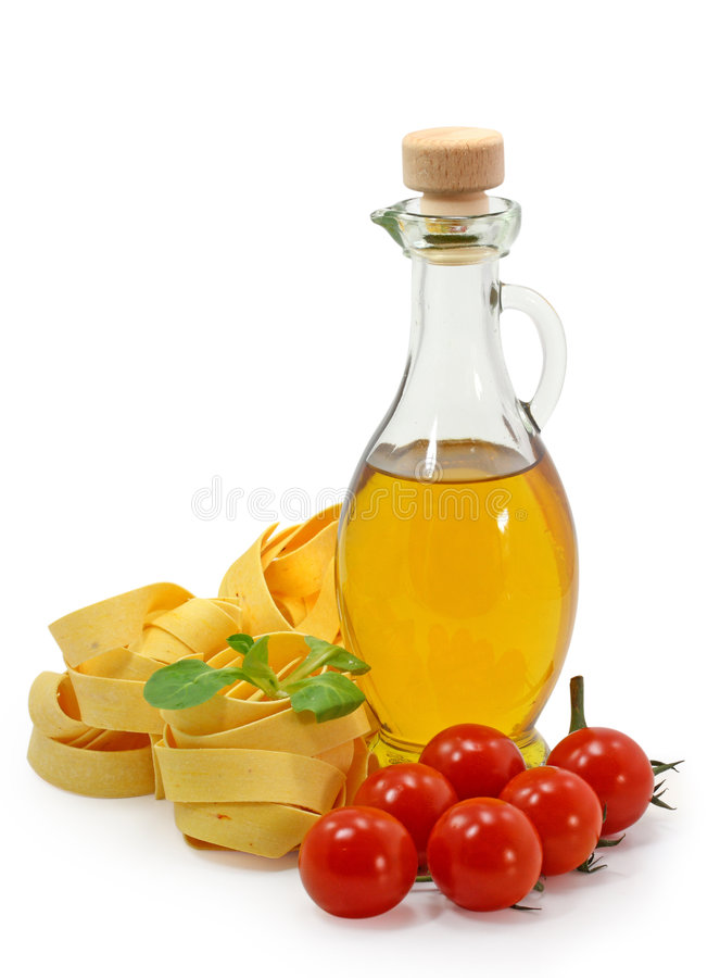 Pasta ingredients. Isolated on white background stock photography