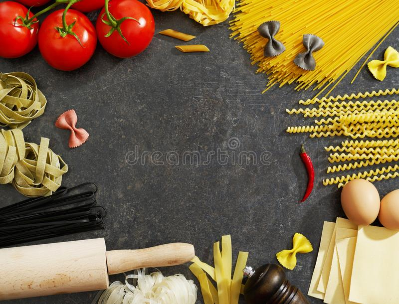 Cooking ingredients from above stock images