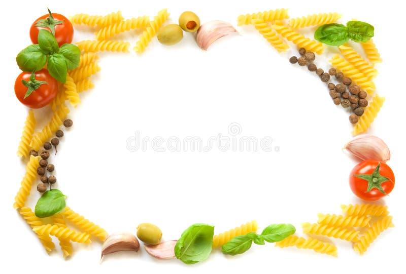 Pasta ingredients frame stock photo