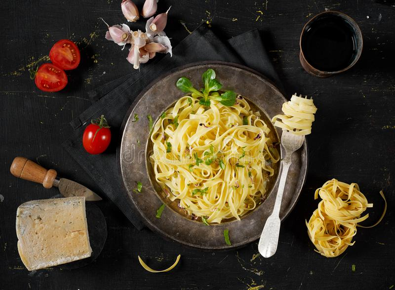 Pasta and ingredients stock image