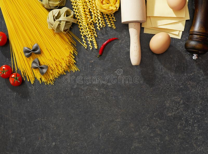 Pasta and ingredients stock images