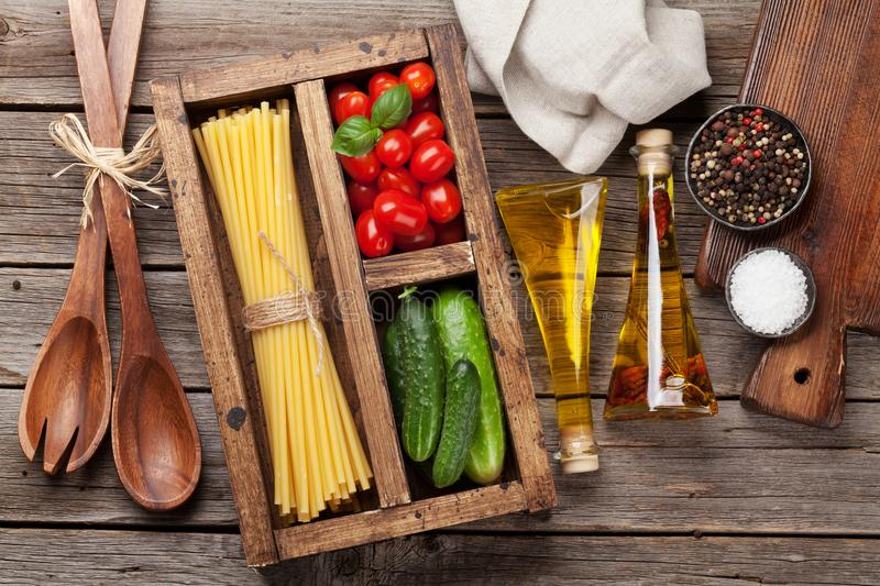 Download Pasta and ingredients stock image. Image of pasta, salt - 118266283