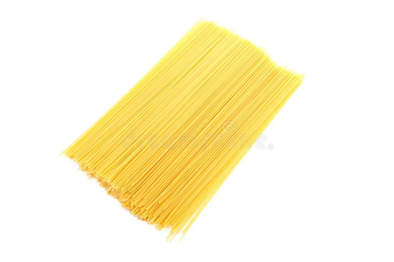 Pasta isolated on white background, top view. Uncooked whole wheat pasta stock photos