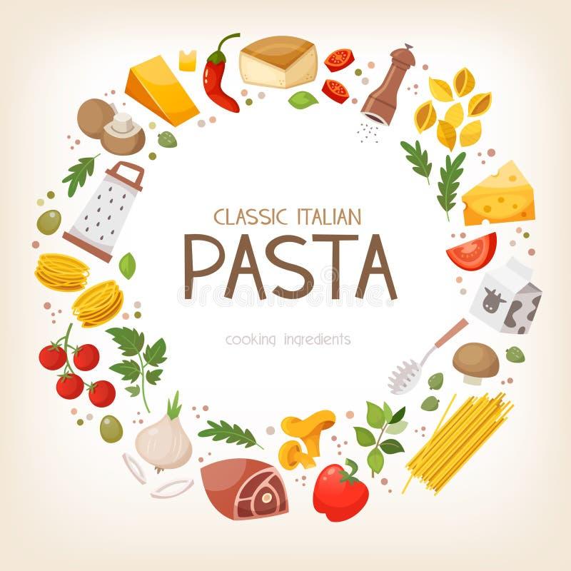 Pasta italiana che cucina gli ingredienti nel cerchio royalty illustrazione gratis