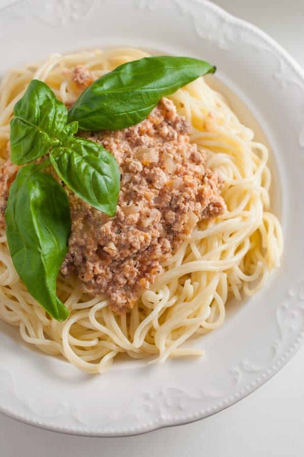 Pasta italiana con salsa fotografia stock libera da diritti