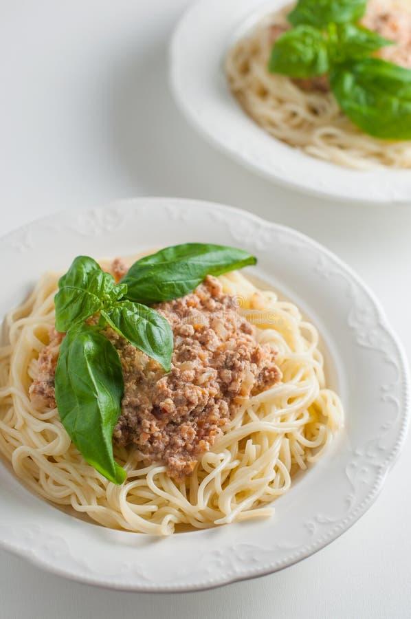 Pasta italiana con salsa su un piatto fotografia stock libera da diritti