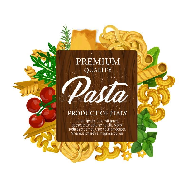 Pasta italiana, pomodoro ed etichetta verde delle erbe royalty illustrazione gratis