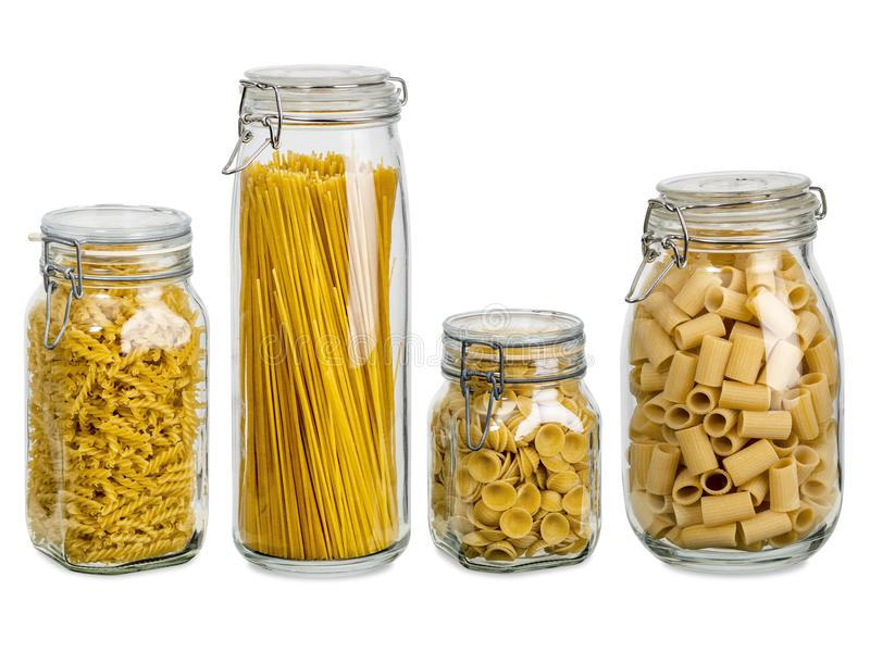 Download Pasta in large glass jars stock photo. Image of collection - 111386044