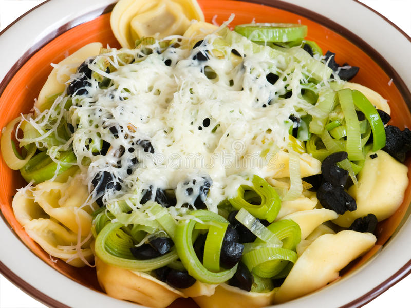 Download Pasta with leek and olives stock image. Image of dish - 23298977