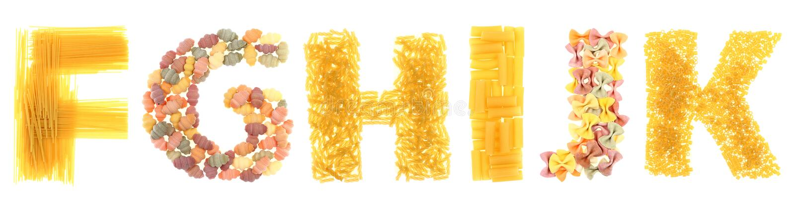Pasta letters stock photos