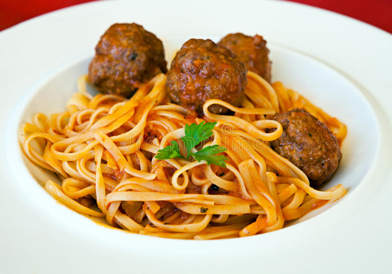 Download Pasta Linguine With Meatballs And Tomato Sauce Stock Photo - Image: 24580944