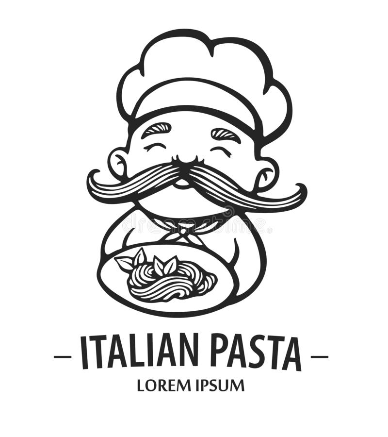 Pasta logo. Hand drawn vector illustration of chef-cooker with a mustache and plate with spaghetti. Italian chef logo. royalty free illustration