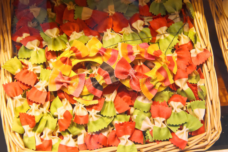 Pasta manufactured in colors of the flags. Of Italy and other countries royalty free stock image