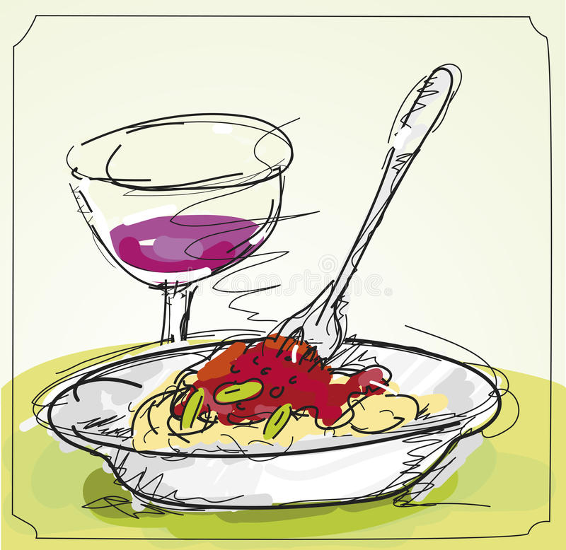Pasta Meal in Restaurant. Sketchy Pasta Meal with a Glass of Wine vector illustration