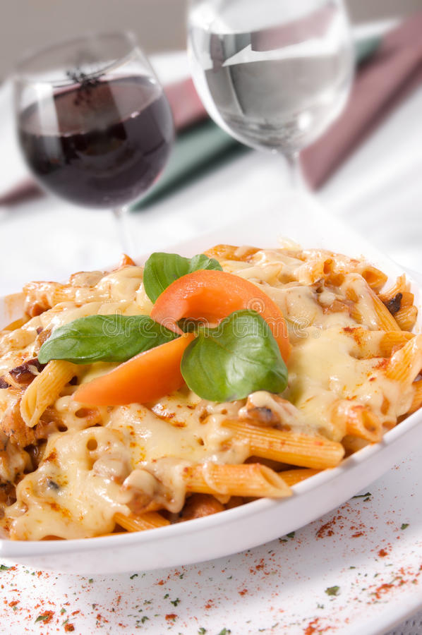 Pasta with meat and cheese sauce. royalty free stock photo