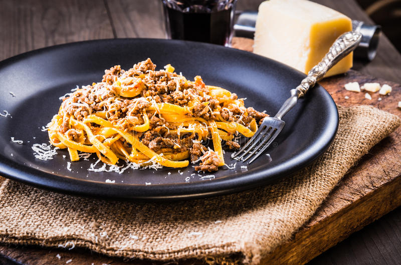 Pasta with meat sauce or pasta with ragu bolognese. royalty free stock image