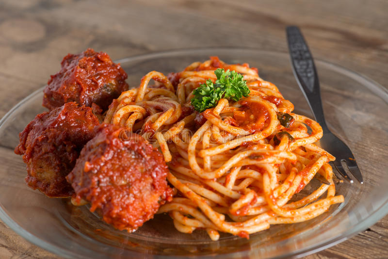 Pasta with meatballs and tomato sauce. royalty free stock images