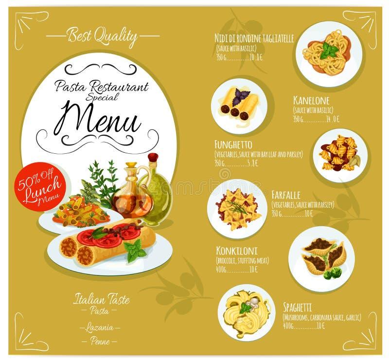 Pasta menu card template stock vector illustration of - Elements cuisine independants ...