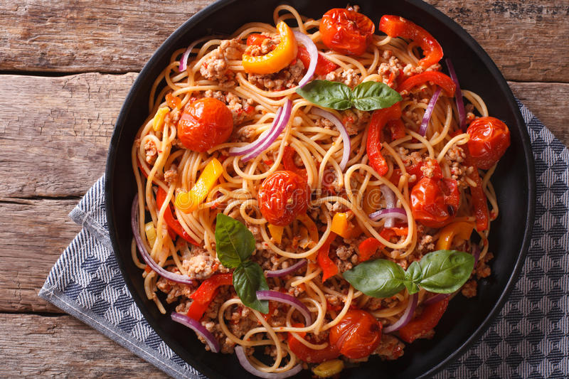 Pasta with minced and vegetables closeup. horizontal top view royalty free stock photography