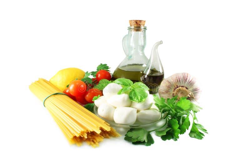 Pasta, mozzarella and tomatoes stock photography
