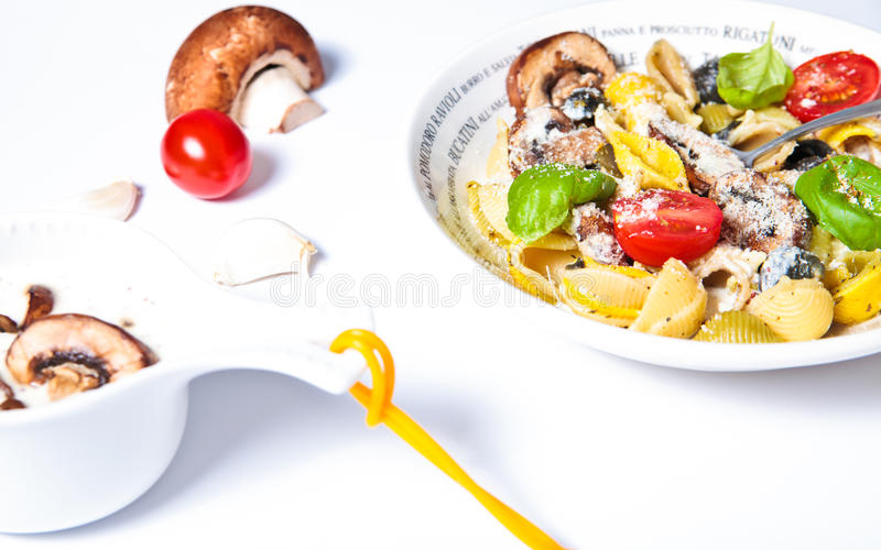 Pasta with mushrooms stock photos
