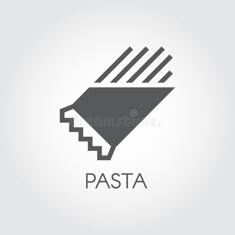 Pasta in package glyph icon. Graphic symbol of floury meal. Spaghetti or macaroni black flat label. Food logo. Vector. Pasta in package glyph icon. Graphic vector illustration