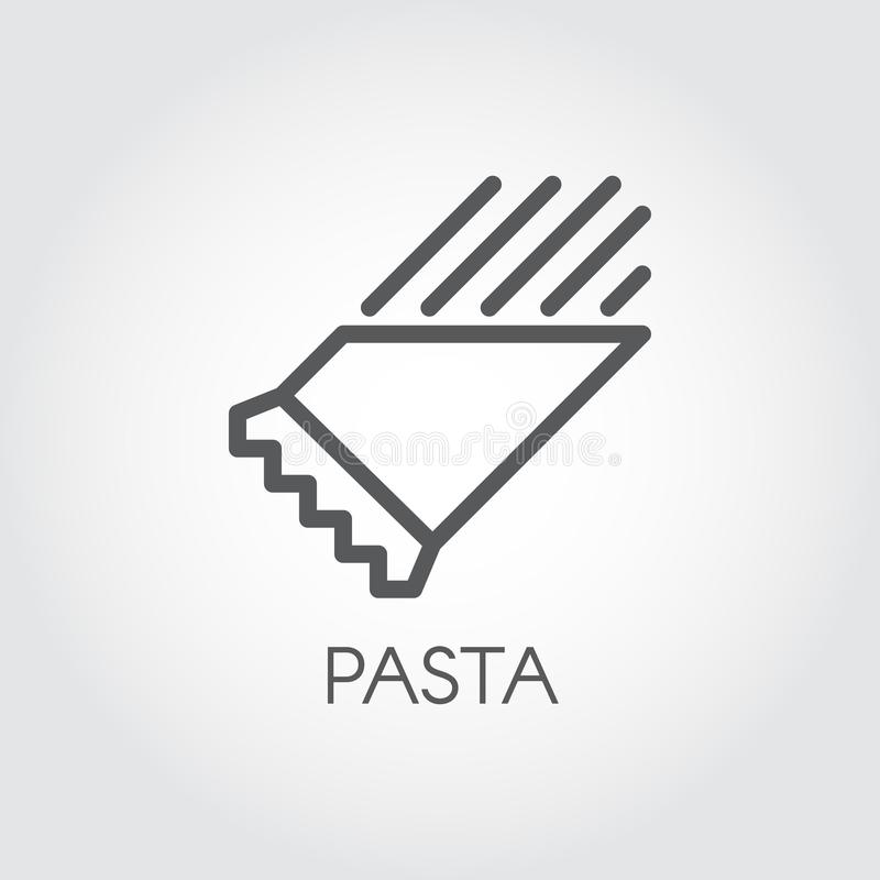 Pasta in package line icon. Symbol of floury meal. Italian dish. Spaghetti or macaroni outline pictograph. Food logo. Pasta in package line icon. Graphic symbol vector illustration