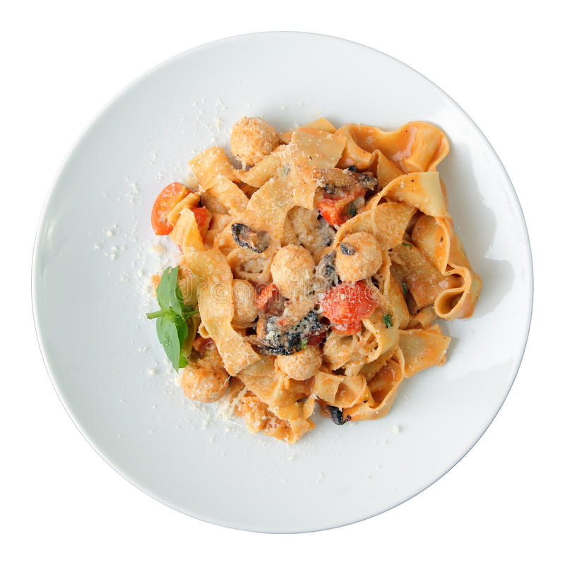 Pasta pappardelle with chicken meatballs stock photography