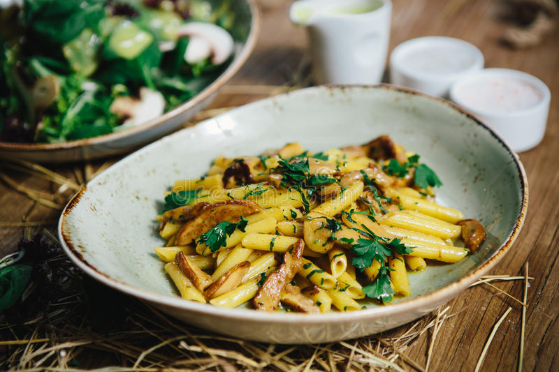Pasta penne with mushrooms royalty free stock image