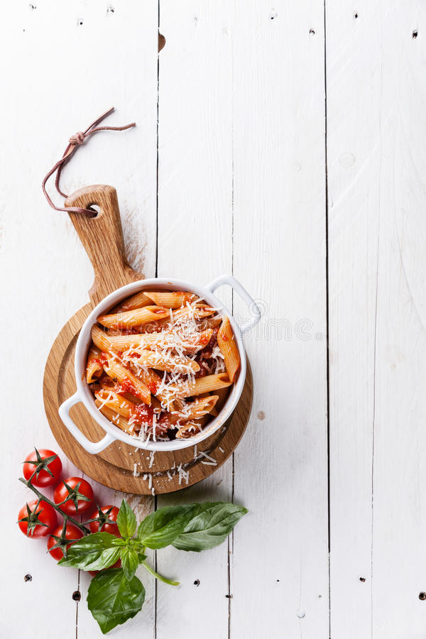 Pasta Penne with tomato sauce stock photo