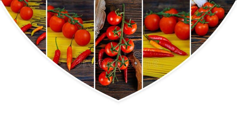 Pasta, peperoncini e pomodori ciliegia su fondo di legno Ingredienti per la cottura del collage della foto della pasta dall'immag immagini stock