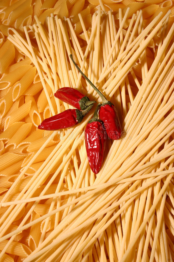 Pasta and peppers stock photo