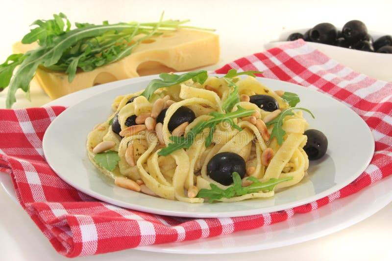Pasta with pesto royalty free stock photos