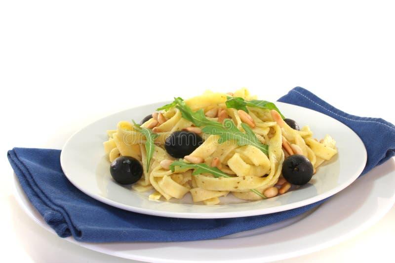 Pasta with pesto royalty free stock photography