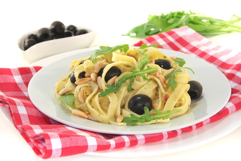 Pasta with pesto royalty free stock images