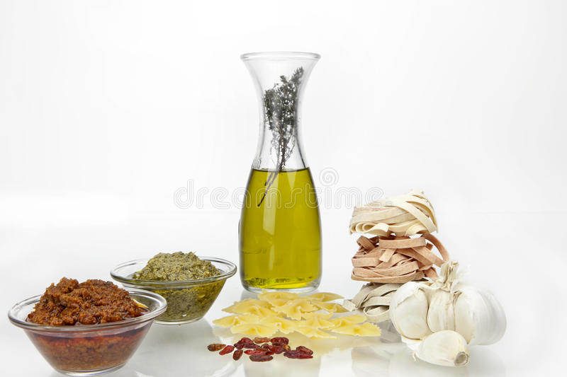 Download Pasta with pesto stock image. Image of rosso, flavored - 20251795
