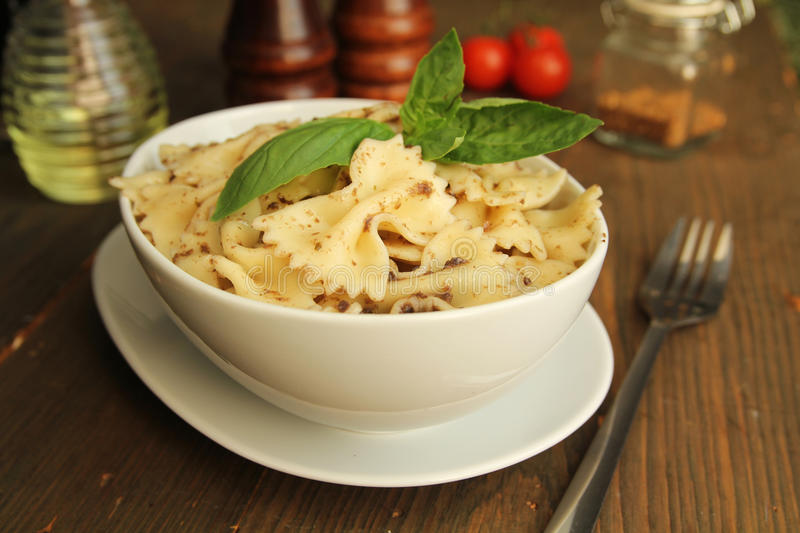 Download Pasta with pesto stock photo. Image of flavor, fork, gourmet - 27778856