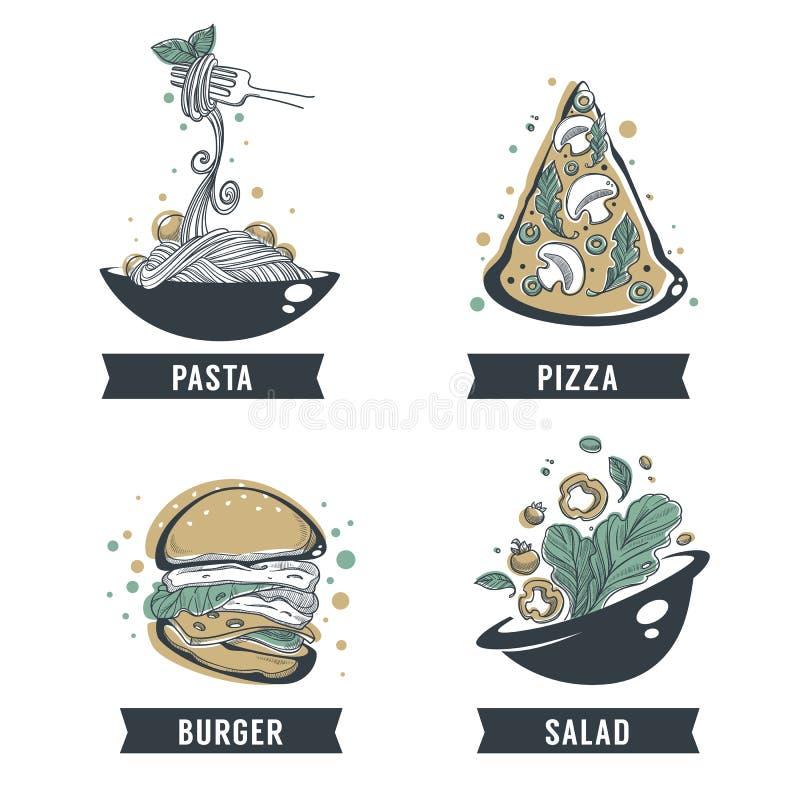 Pasta, pizza, insalata ed hamburger, schizzo disegnato a mano con iscrizione royalty illustrazione gratis