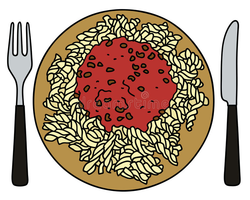 Pasta on the plate vector illustration