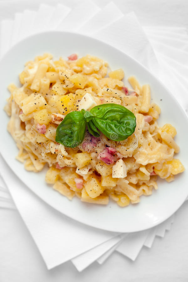Pasta with Potatoes Provola Cheese and Bacon