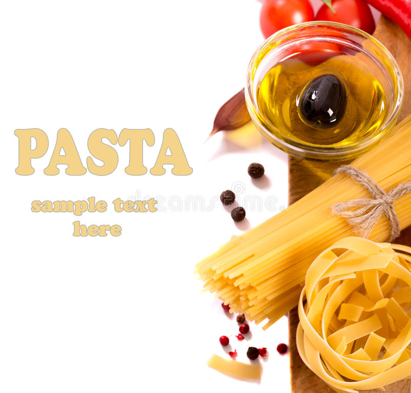 Pasta products with olive oil royalty free stock photos