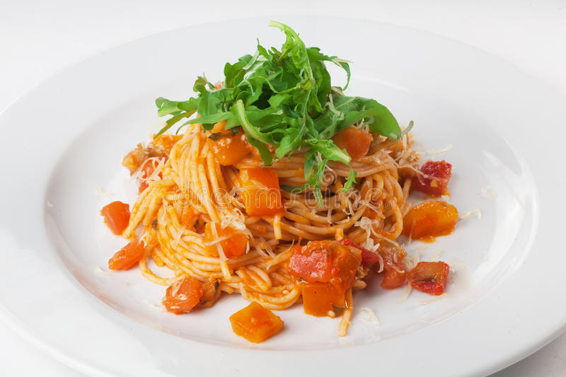 Pasta With Pumpkin And Arugula Stock Image - Image of ...