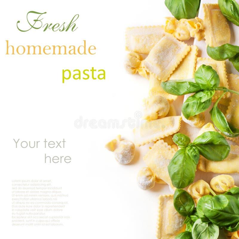 Pasta ravioli with basil stock images