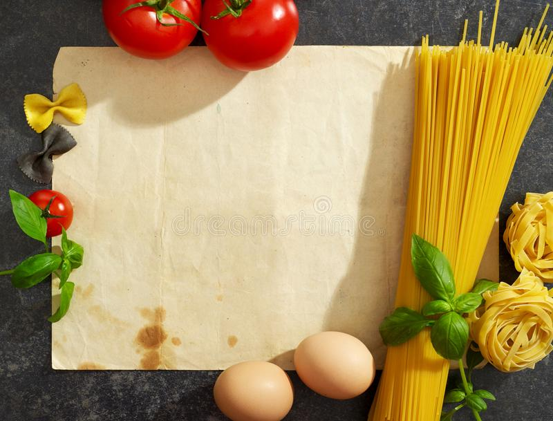 Pasta receipe from above stock photography