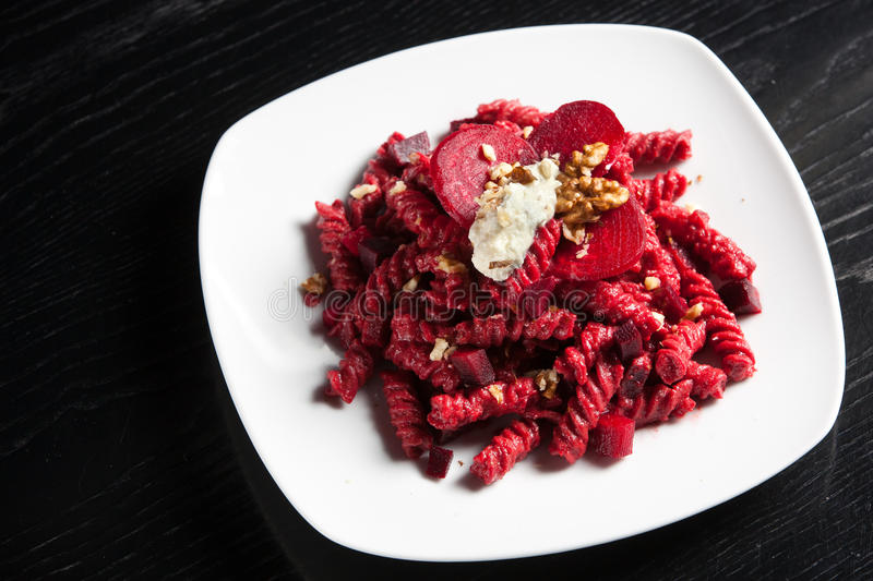 Download Pasta With Red Beets Cheese And Walnuts Stock Image - Image: 22962289